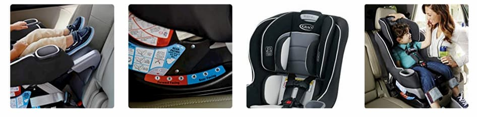 Asiento de coche convertible para montar en la parte trasera marca Graco Extend2Fit